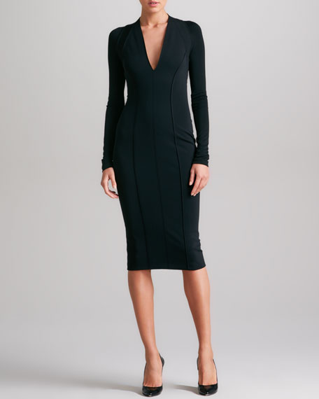 Seamed Plunging Jersey Dress, Black