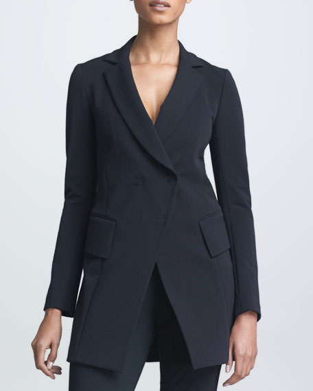 Long Fitted Double-Breasted Jacket, Black