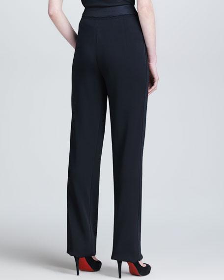 Envelope-Pleated Fluid Pants, Black