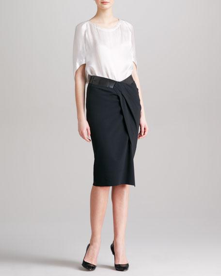 Fixed-Wrap Sarong Skirt, Black