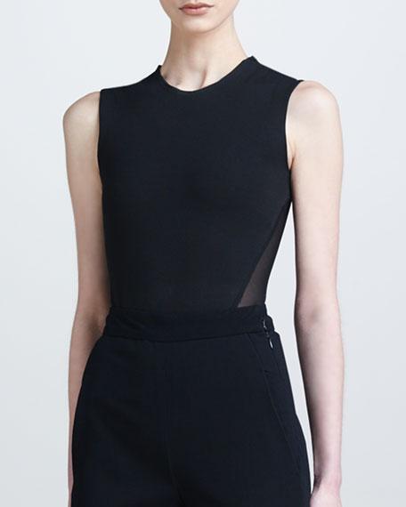 Sheer-Back Bodysuit, Black