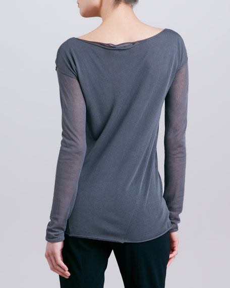 Lightweight Cowl Neck Jersey Top, Steel