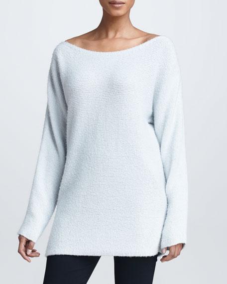 Wide-Neck Cashmere Silk Sweater, Ash