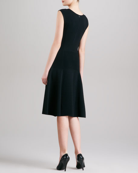 Dropped Waist Fit & Flare Dress, Black