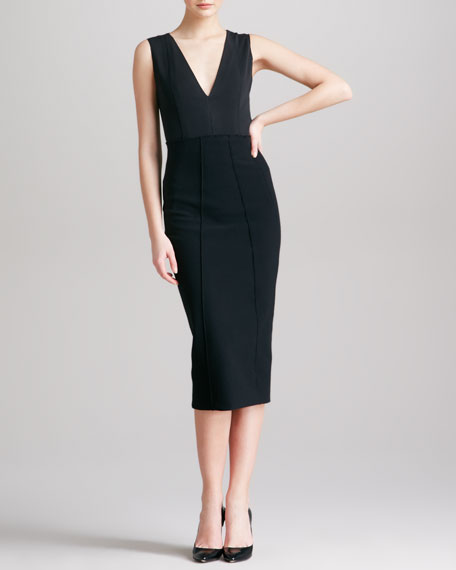 High-Waist Formfitting Midi Skirt, Black