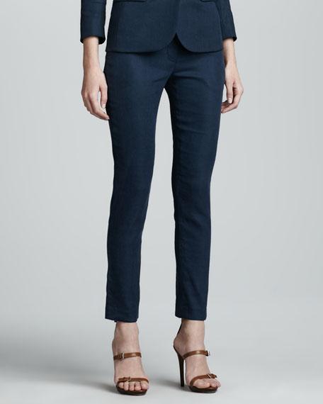 Flat Front Slim Linen-Blend Pants, Prussian Blue