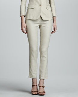 THE ROW Flat Front Slim Linen-Blend Pants, Truffle
