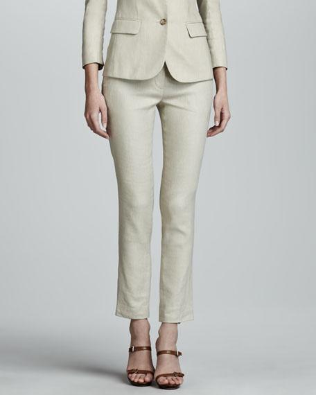 Flat Front Slim Linen-Blend Pants, Truffle