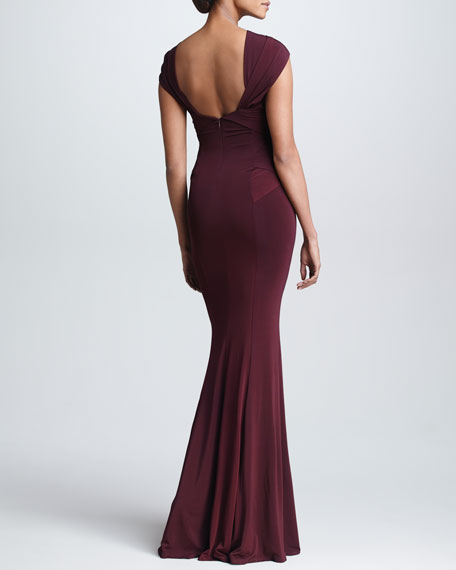 Cross-Neck Evening Gown, Claret