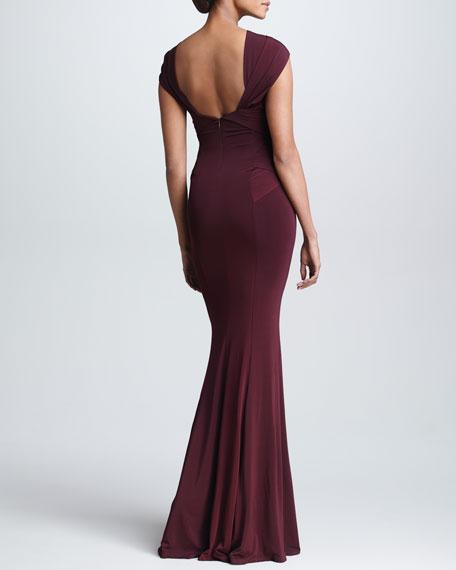 Cross-Neck Evening Gown, Claret