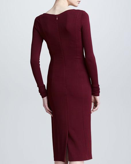 Long-Sleeve Draped V Neck Dress, Pomegranate