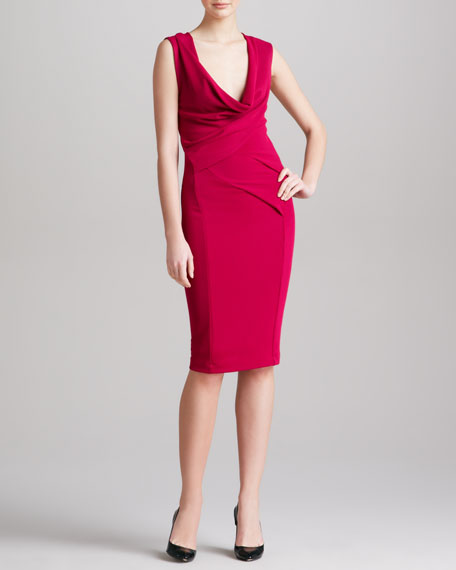 Plunging Cowl-Neck Dress, Cyclamen