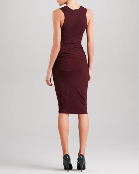 Sleeveless Draped Jersey Dress, Claret