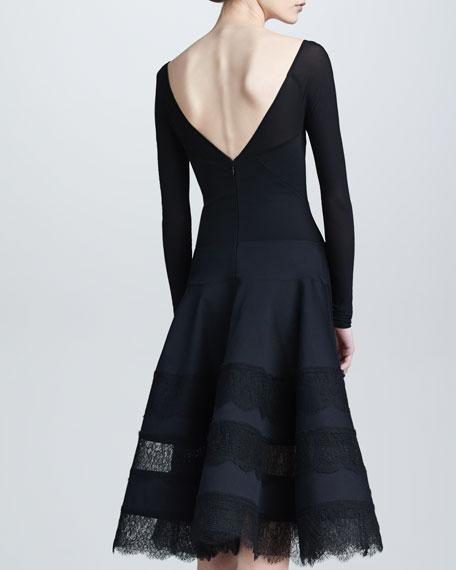 Lace & Jersey Long-Sleeve Dress, Black