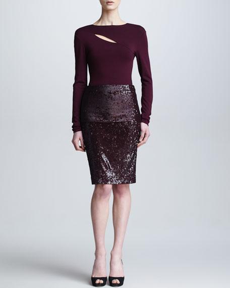 Fold-Over Pull-On Sequin Skirt, Claret