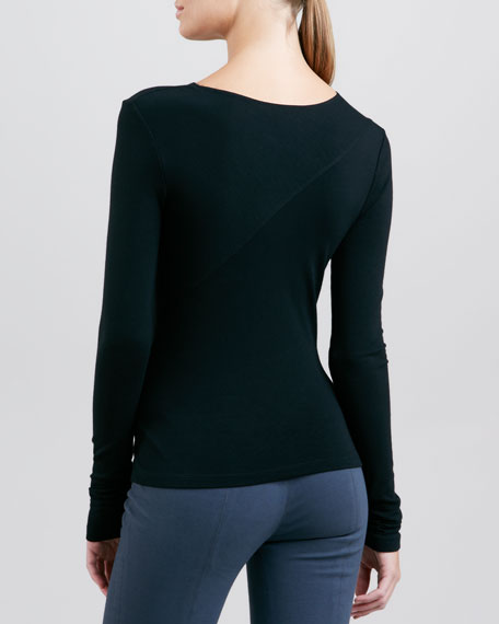 Long-Sleeve Slash Top, Black