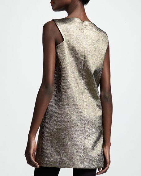 Cut-In Metallic Shift Dress, Gold