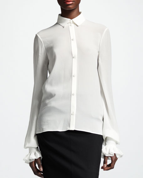 Collared Silk Blouse, White