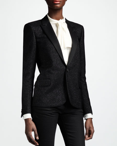 Metallic One-Button Blazer, Noir