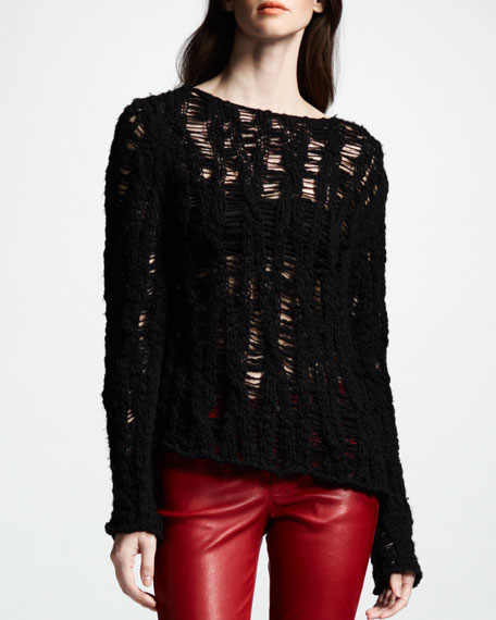 Distressed Crochet Sweater, Noir