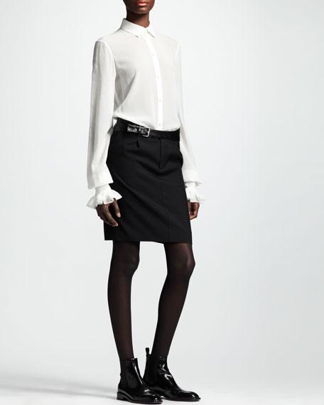 Leather-Belt Gabardine Skirt, Black