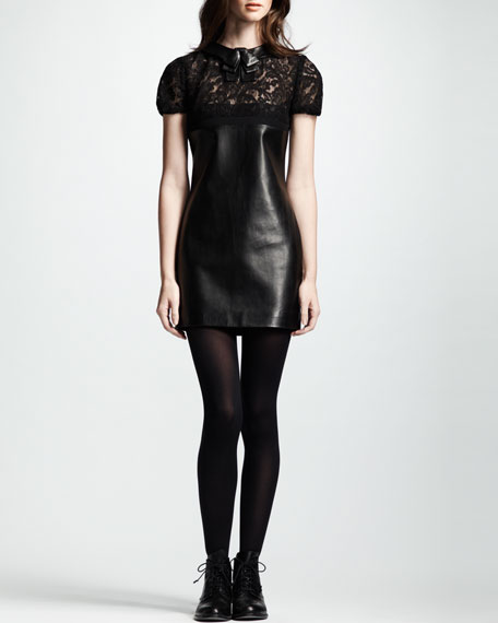 Short-Sleeve Lace & Leather Dress