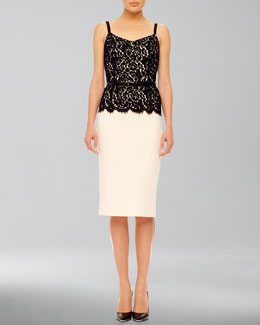 Michael Kors Belted Lace-Top Dress