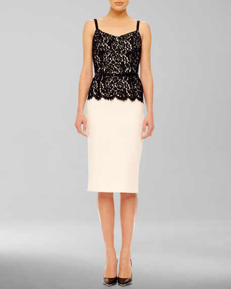 Belted Lace-Top Dress