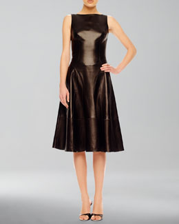 Michael Kors A-Line Leather Dress