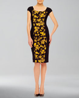 Michael Kors  Leaf-Print Fitted Dress