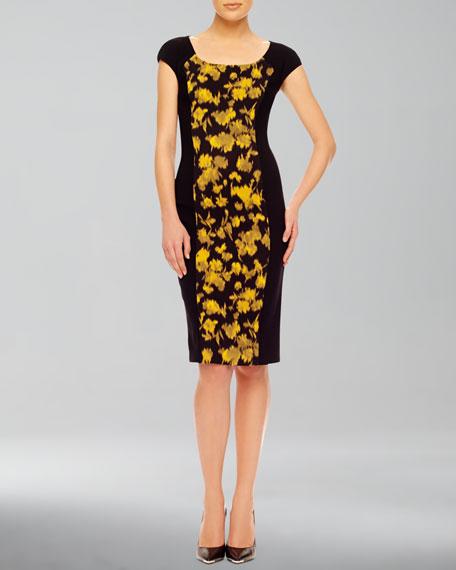 Leaf-Print Fitted Dress