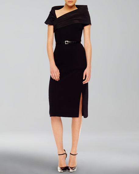 High-Slit Crepe Dress