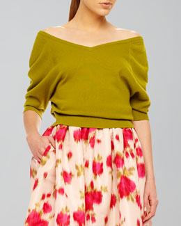 Michael Kors  Off-The-Shoulder Cashmere Top