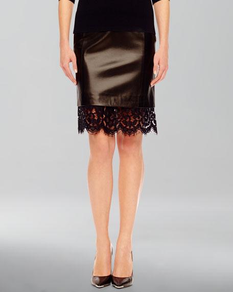 Lace-Hem Leather Skirt