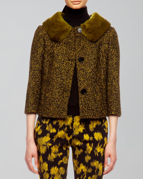 Mink-Collar Herringbone Jacket