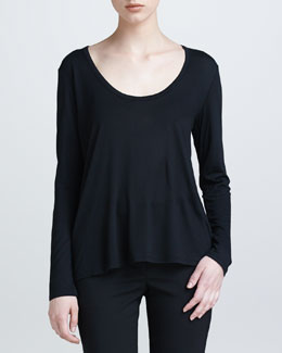 THE ROW Scoop-Neck Jersey Tee, Black