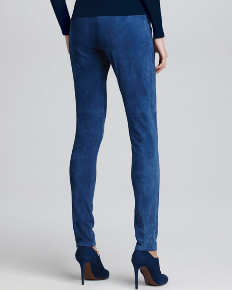 Stretch Suede Leggings, Denim Blue