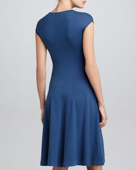 Cashmere Cap-Sleeve Dress, Denim Blue
