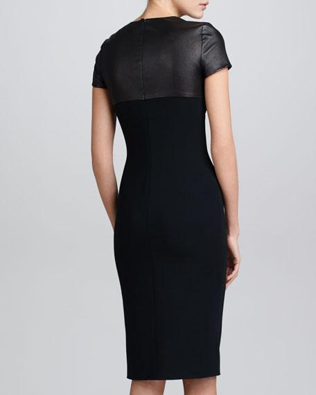 Leather & Wool Crepe Dress, Black