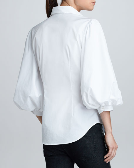 Aston Puff-Sleeve Cotton Poplin Blouse, White