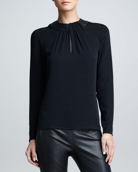 Leather-Collared Silk Top, Black
