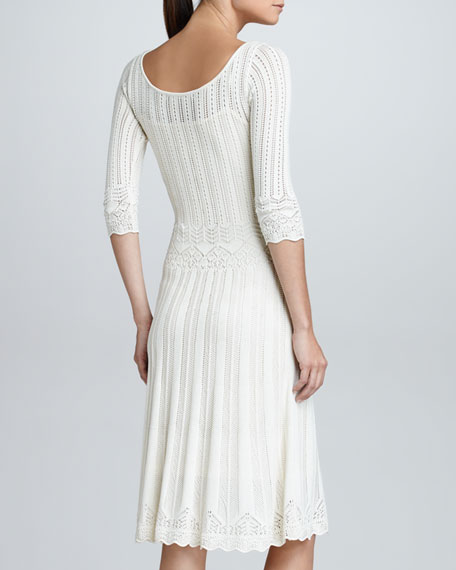 Elbow-Sleeve Crochet Sweaterdress, Cream