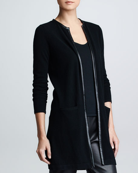 Leather Piped Cashmere Cardigan, Black