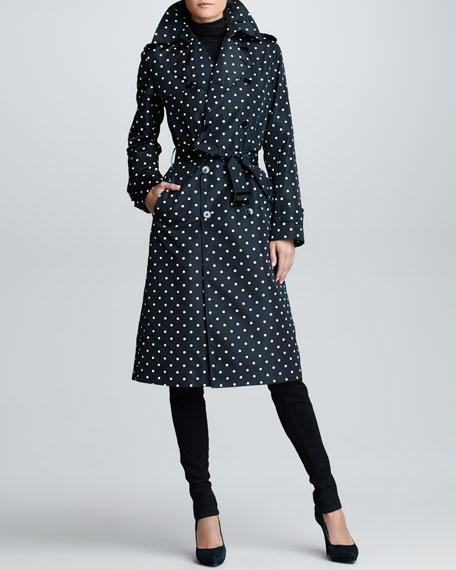 Polka-Dot Trench Coat, Black/Ivory