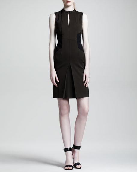 Moto-Detailed Sheath Dress, Brown/Black