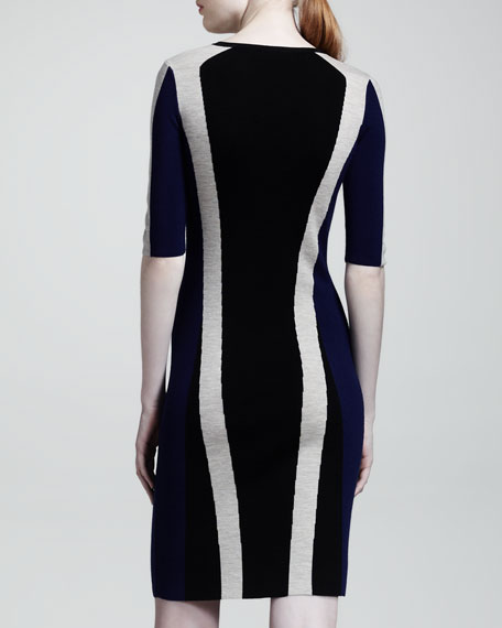 Carlin Racing-Stripe Merino Dress