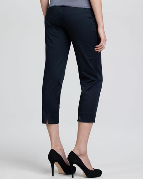 Cropped Side-Zip Sateen Pants, Black