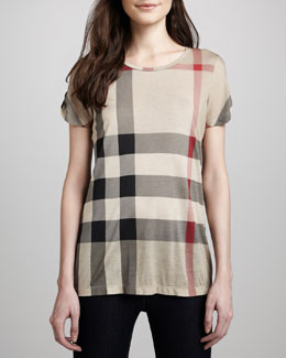 Burberry Brit Short-Sleeve Check T-Shirt, Classic