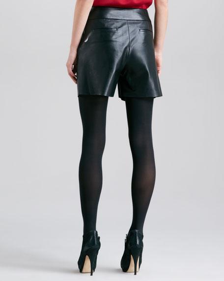 Leather Crisscross-Waist Shorts