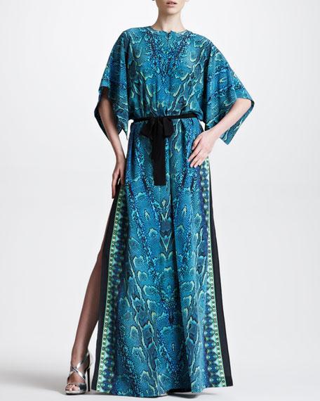 Snake-Print Maxi Caftan, Turquoise